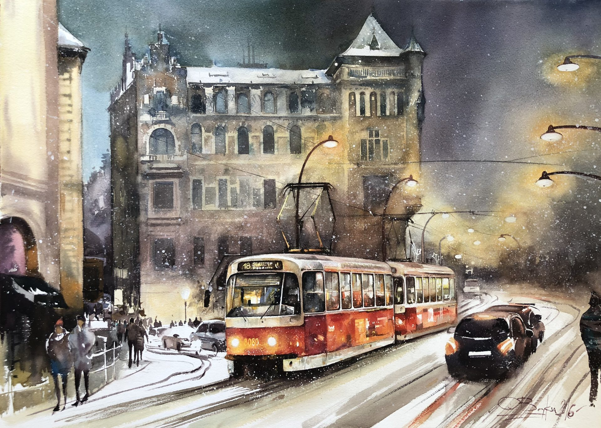 Winter in Prague, 56x76cm,2016