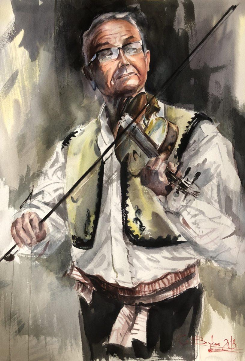 Albanian Musician, Watercolour,56x76cm, Albánský hudebník