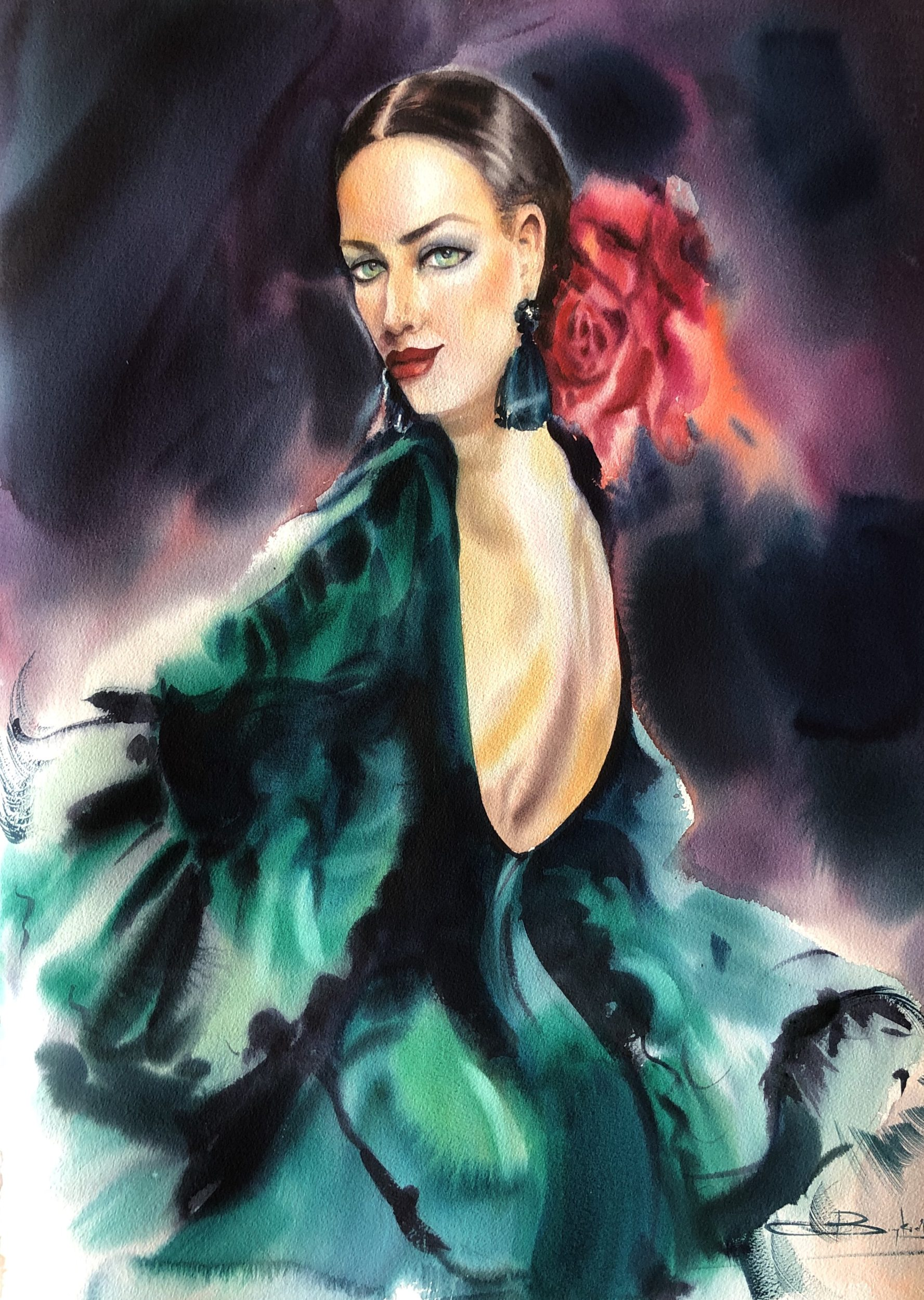 Before a Passionate Dance, Watercolour,56x76cm,Před vášnivým tancem