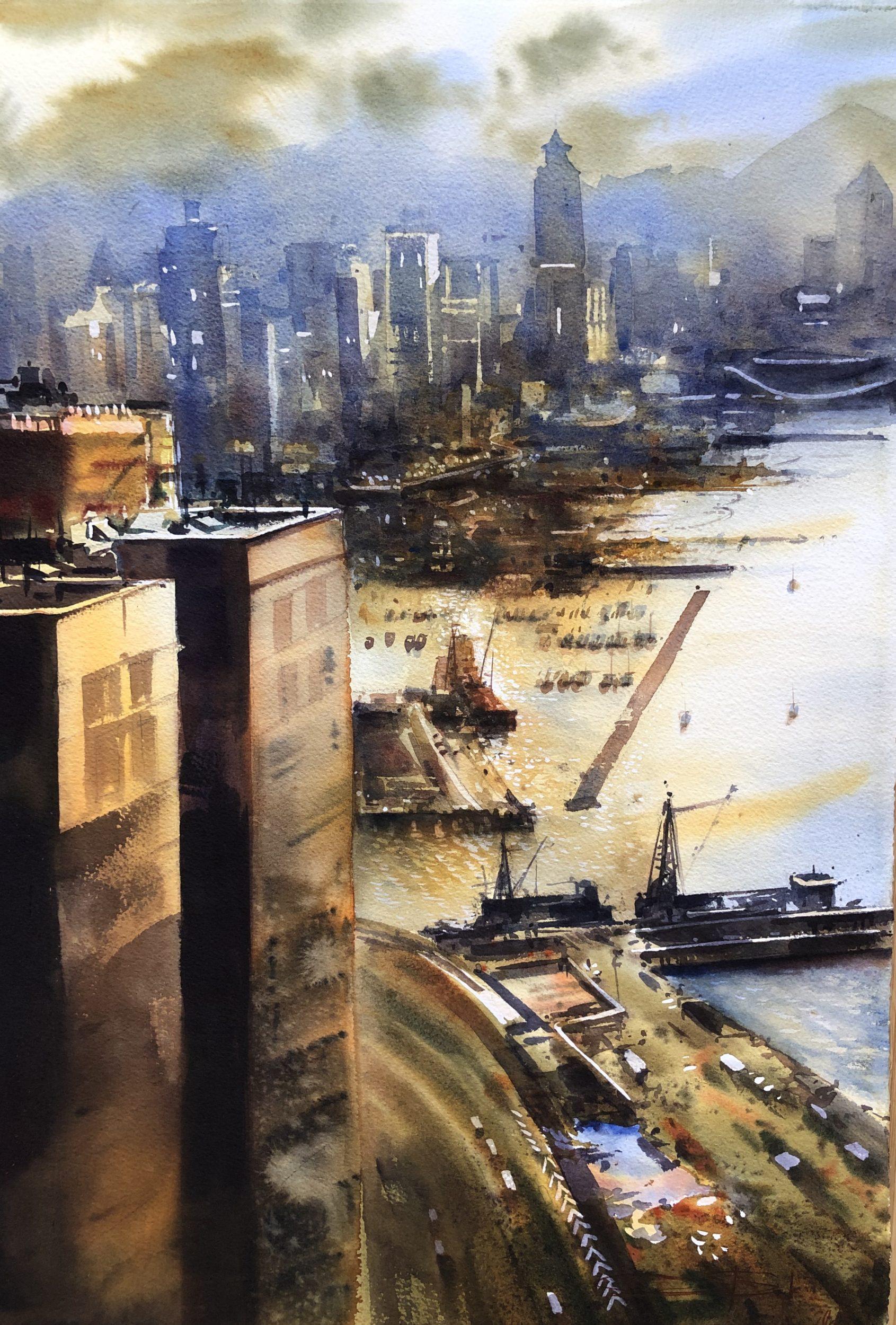Busy Life in Hong Kong, Watercolour, 56x38cm,Rušný život v Hongkongu