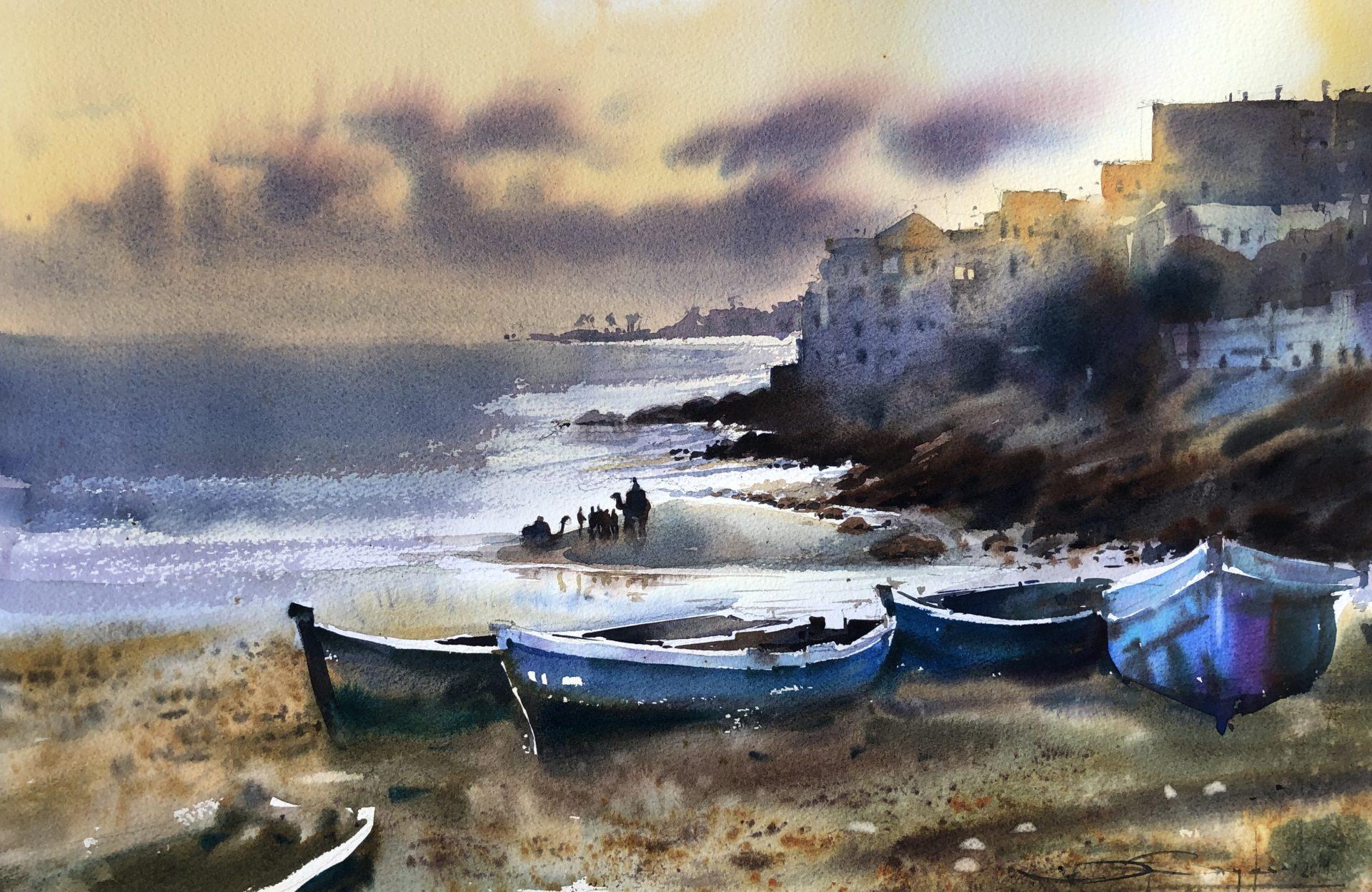 Deserved Rest, Watercolour, 56x38cm,Zasloužený odpočinek