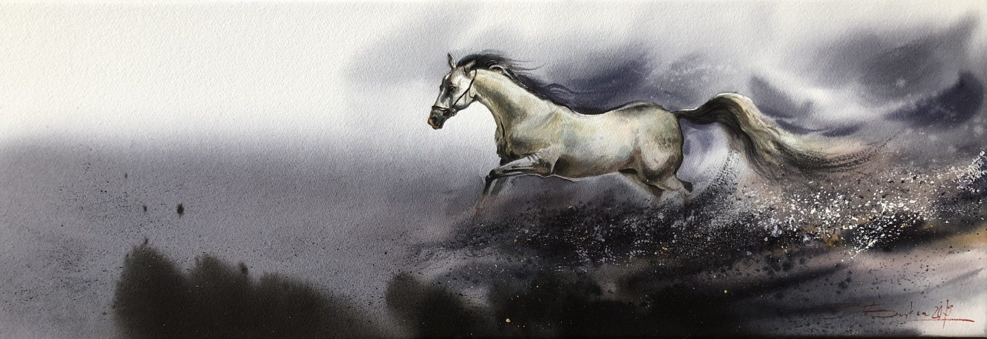 Freedom, Watercolour, 30x100cm, Svoboda