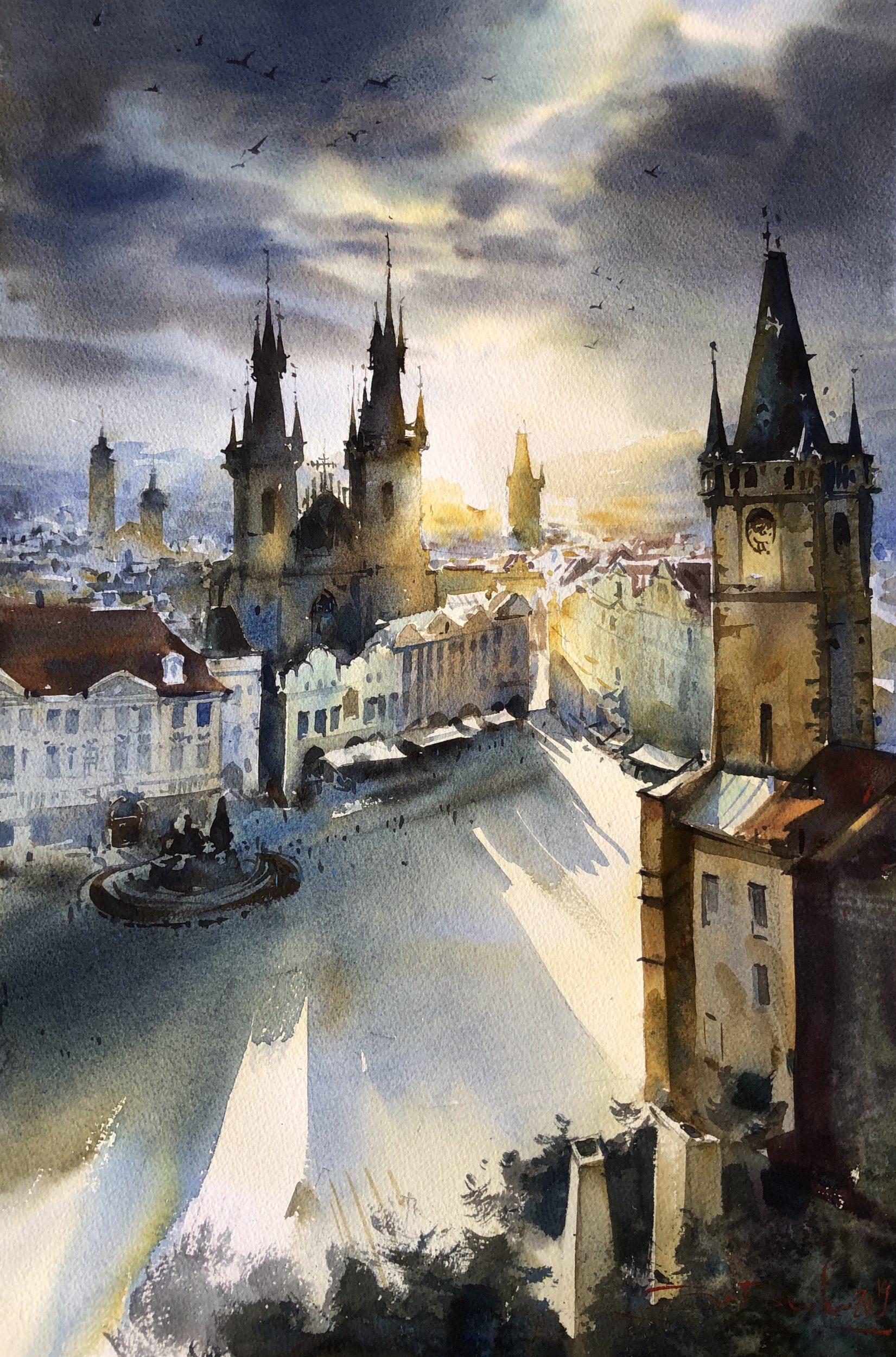Golden Prague, Watercolour, 56x38cm Zlatá Praha