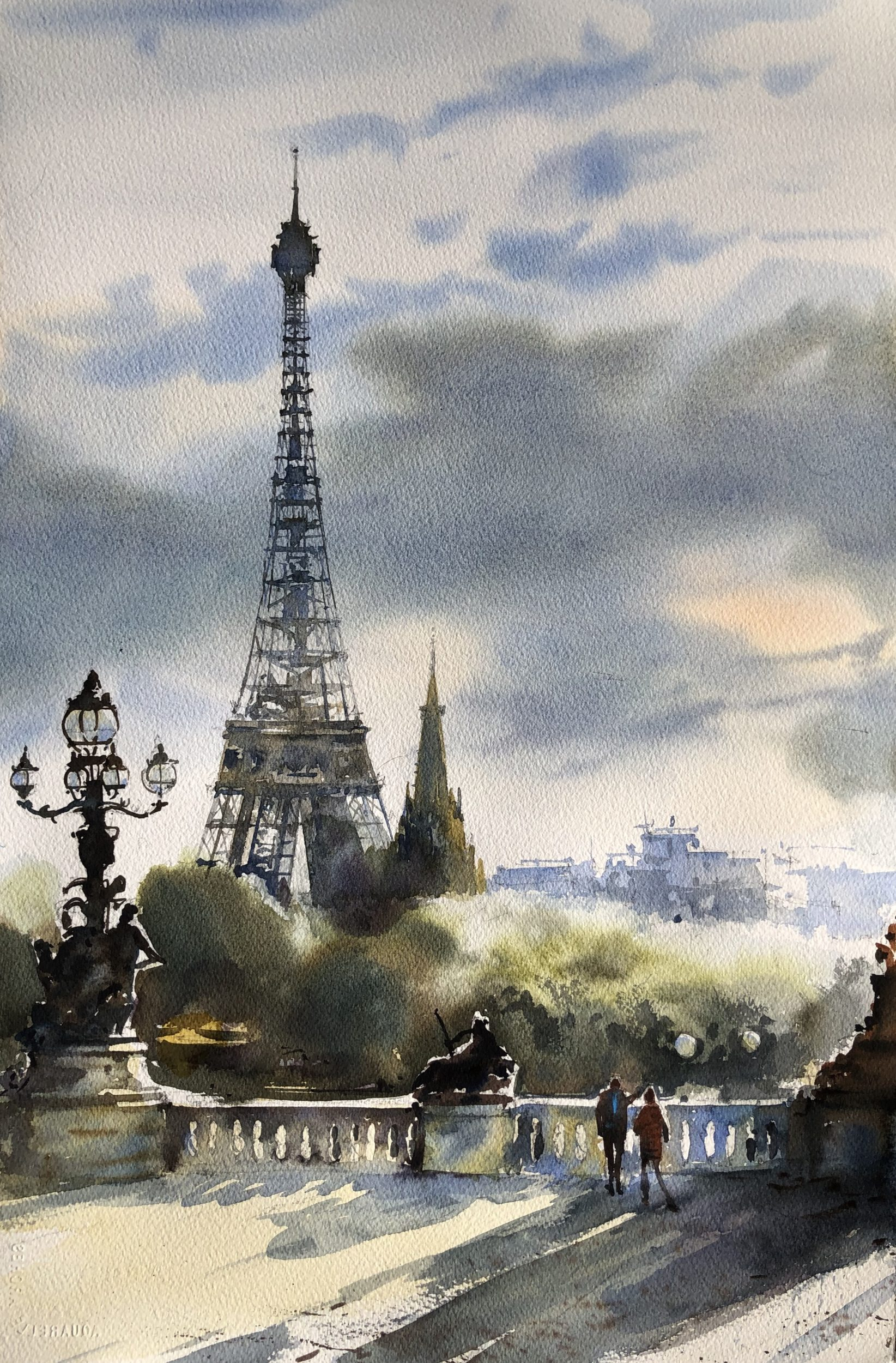 Good Morning, Paris, Watercolour, 56x38cm,Dobré ráno,Paříž
