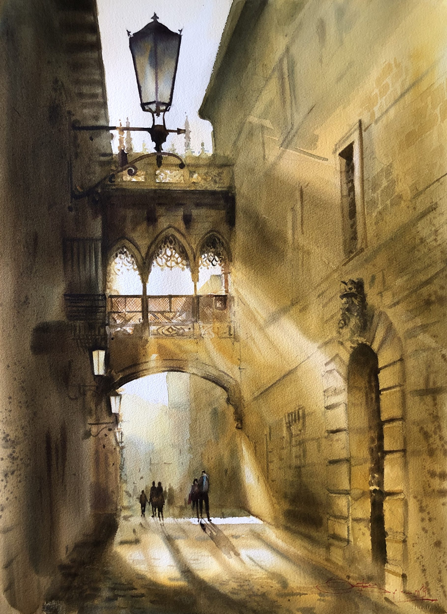 Heavenly Golden Light in the Gothic Barcelona, Watercolour, 56x76cm,Nebeské zlaté světlo v gotické Barceloně
