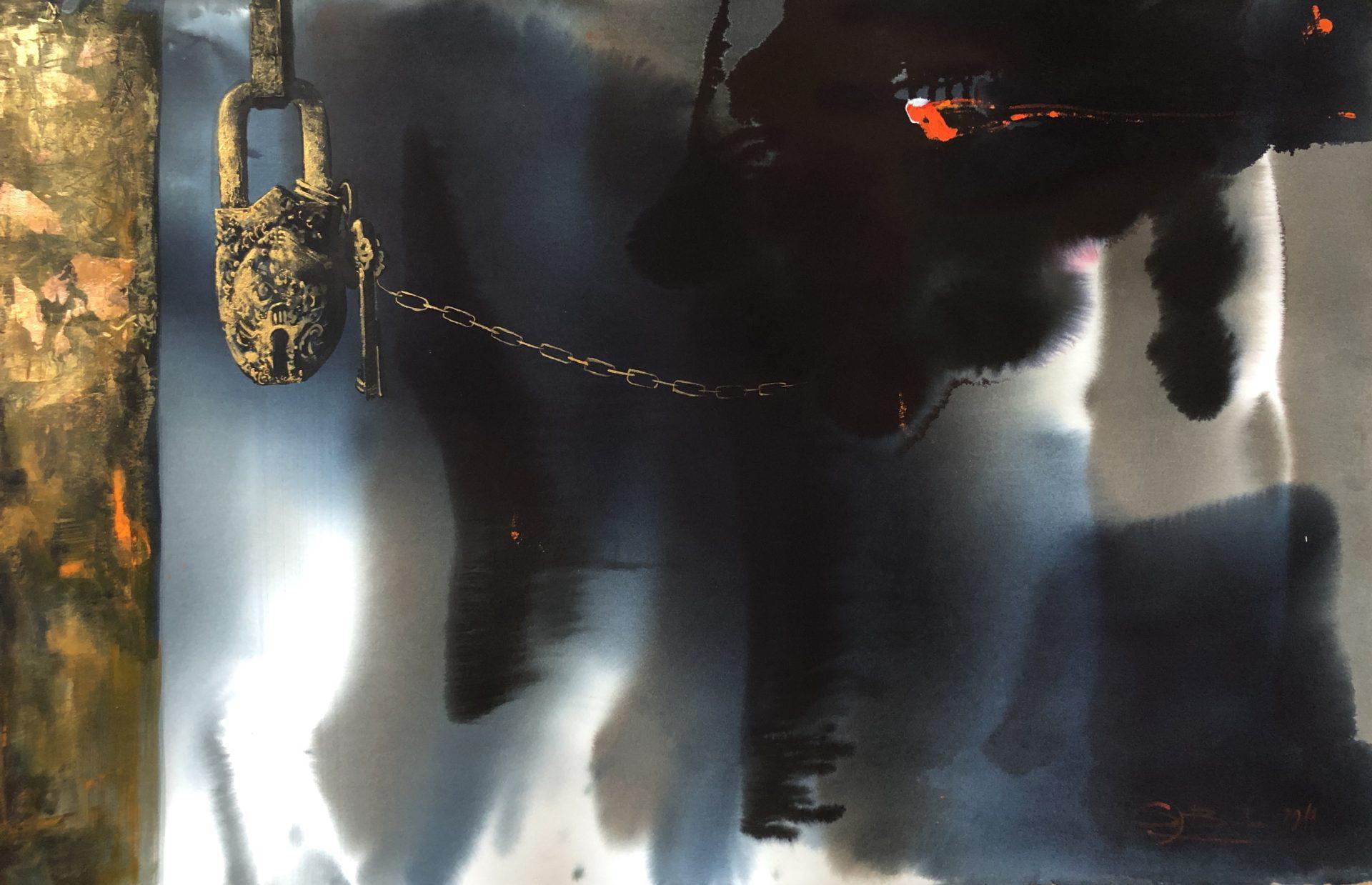 In a Different Dimension,Watercolor,65x101cm,V jiné dimenzi