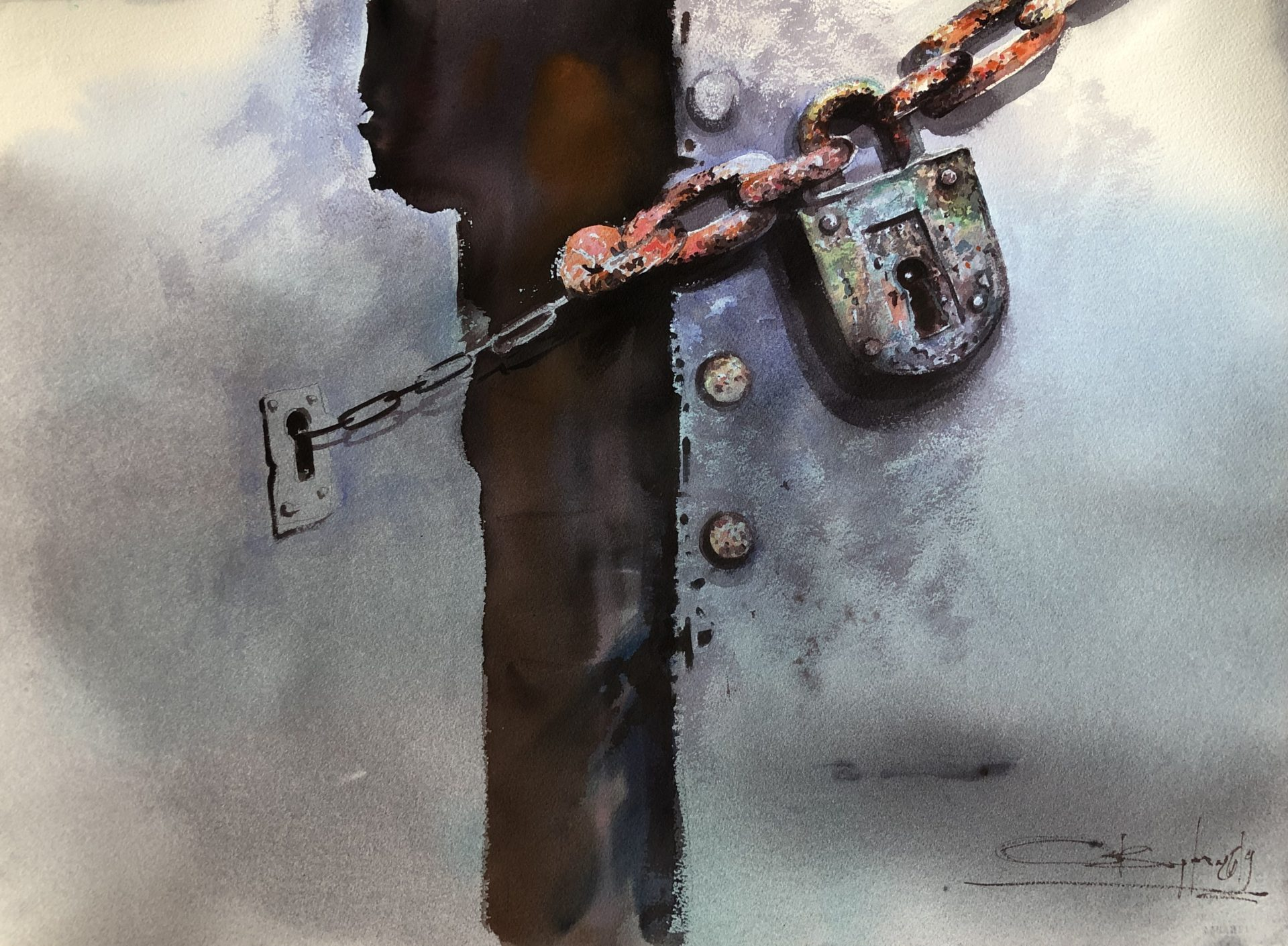 Just Give Me the Reason,Watercolour,56x76cm, Jen mi dej důvod