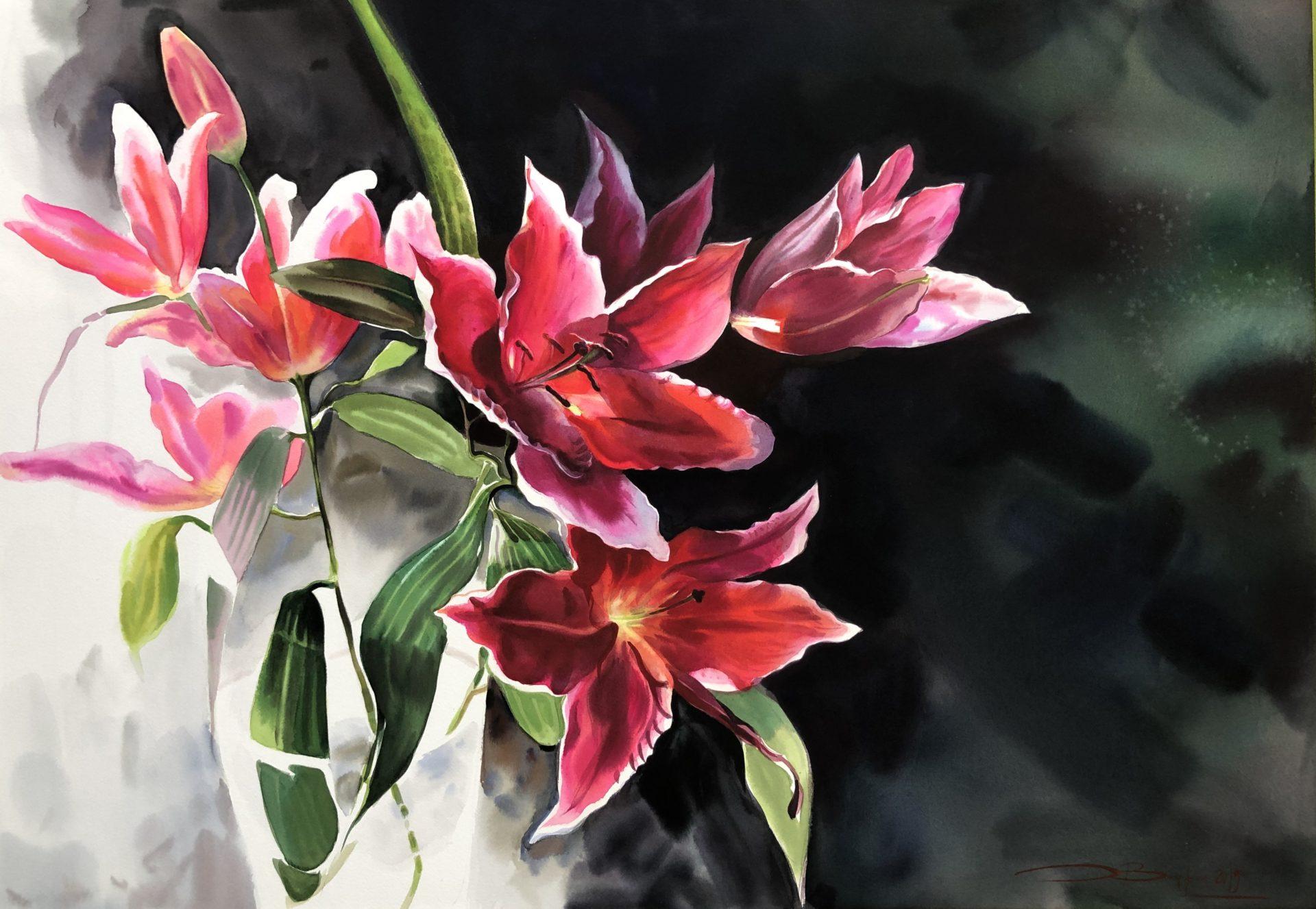 Lily Bouquet,Watercolour,70x100cm,Kytice lilie