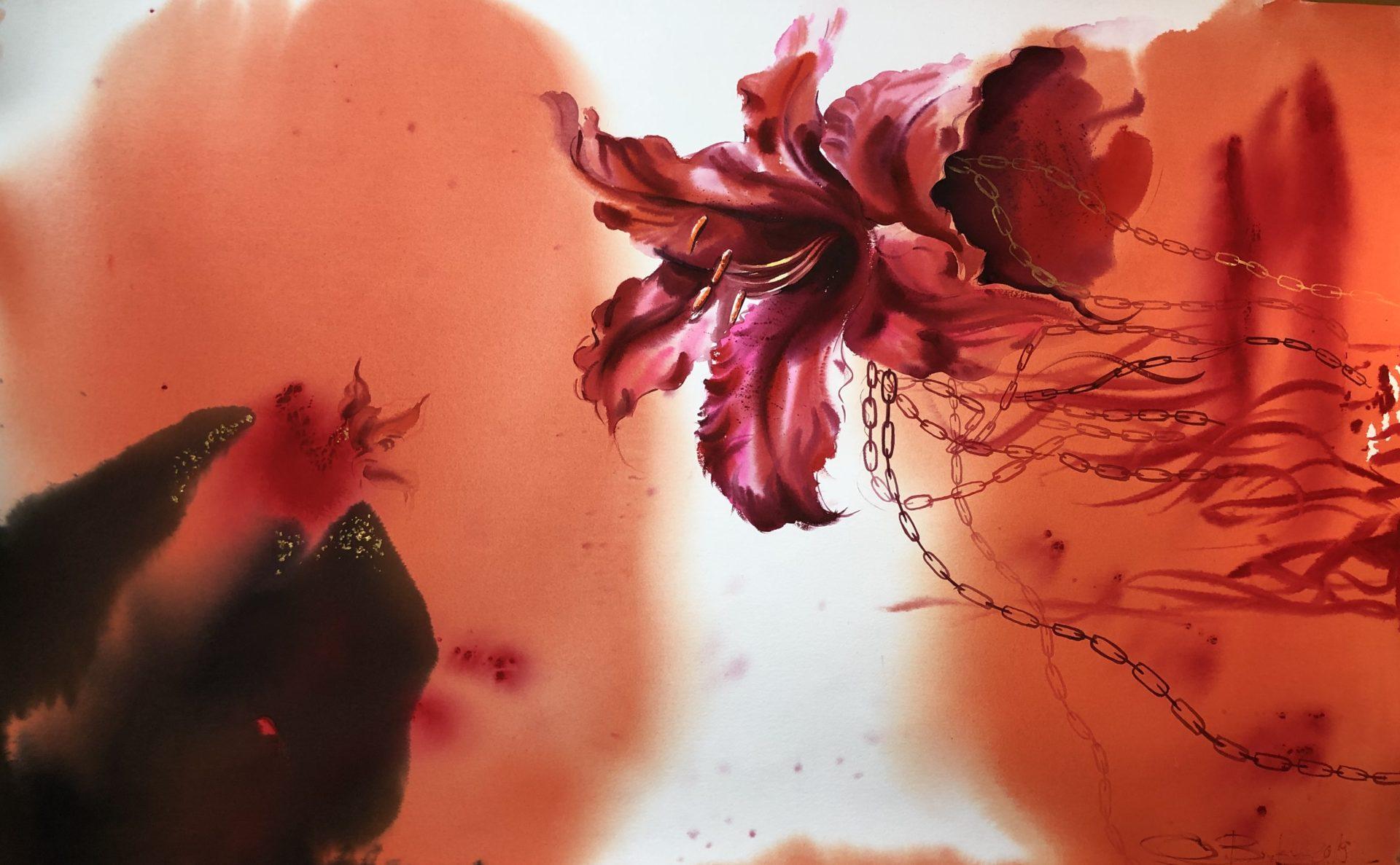 Love,Watercolour 65x101cm,Láska