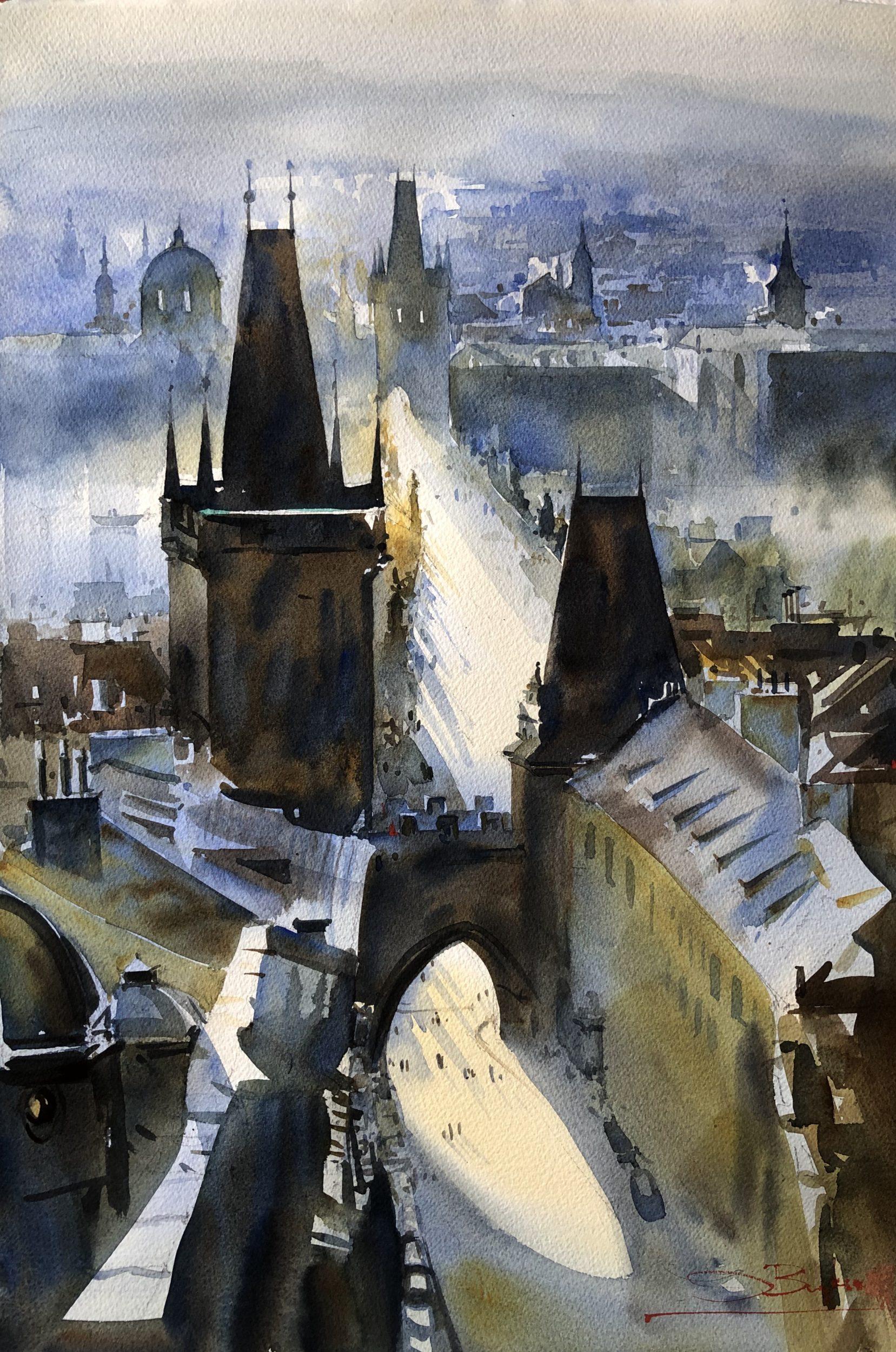 Magic Prague, Watercolour, 56x38cm,Magická Praha