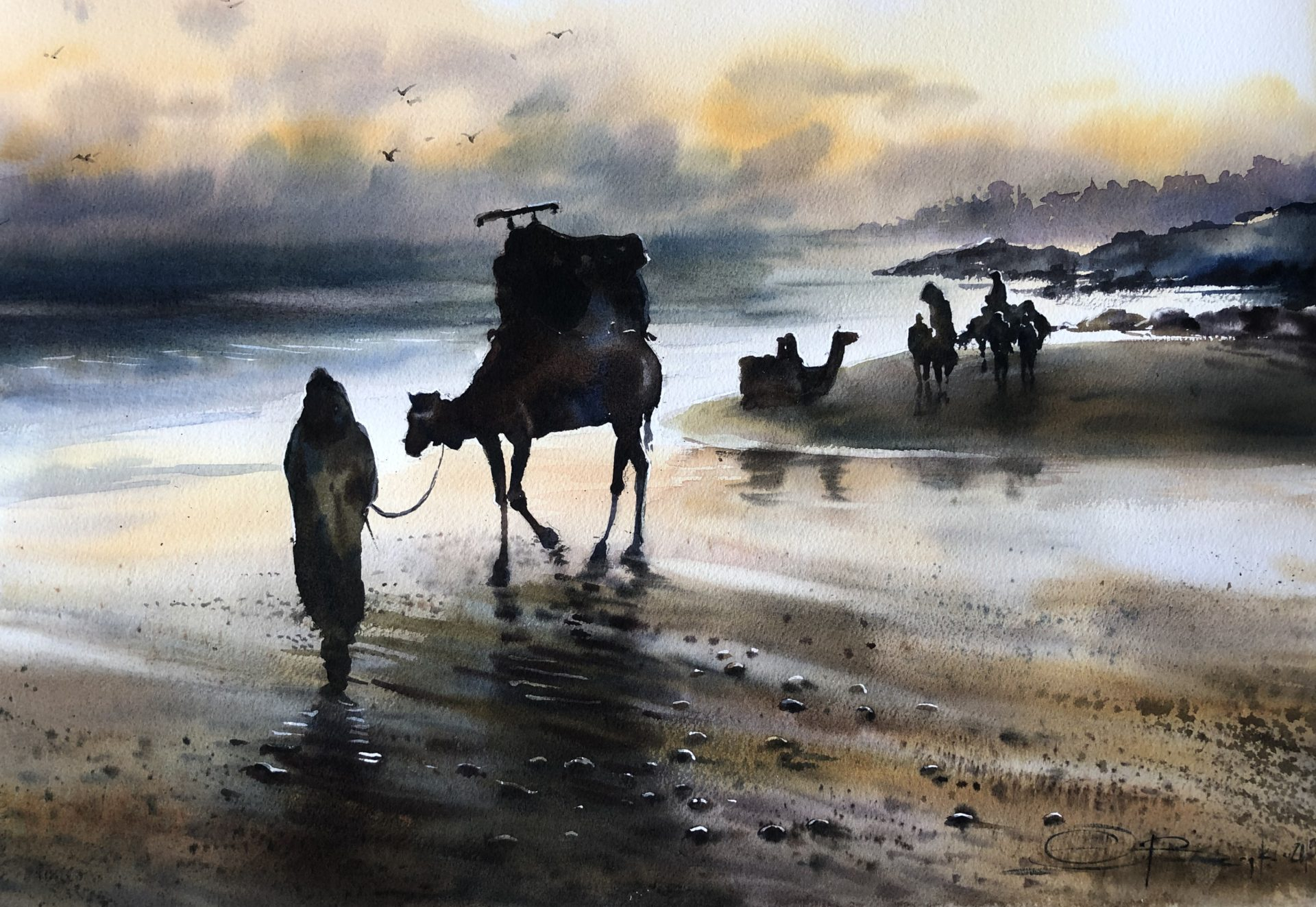 On the Way Home, Watercolour, 56x38cm,Na cestě domů