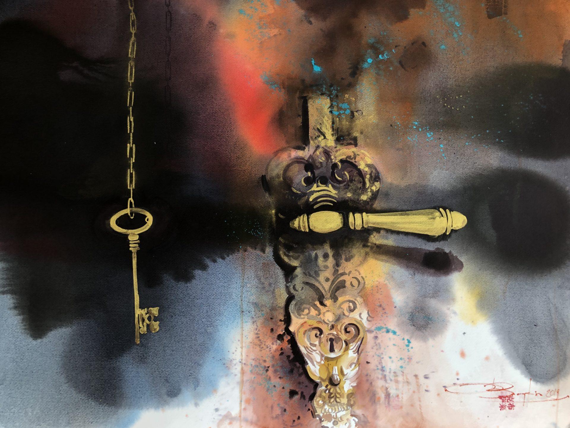 On this Occasion-Golden Key, Watercolour, 56x76cm,V tomto případě zlatý klíč