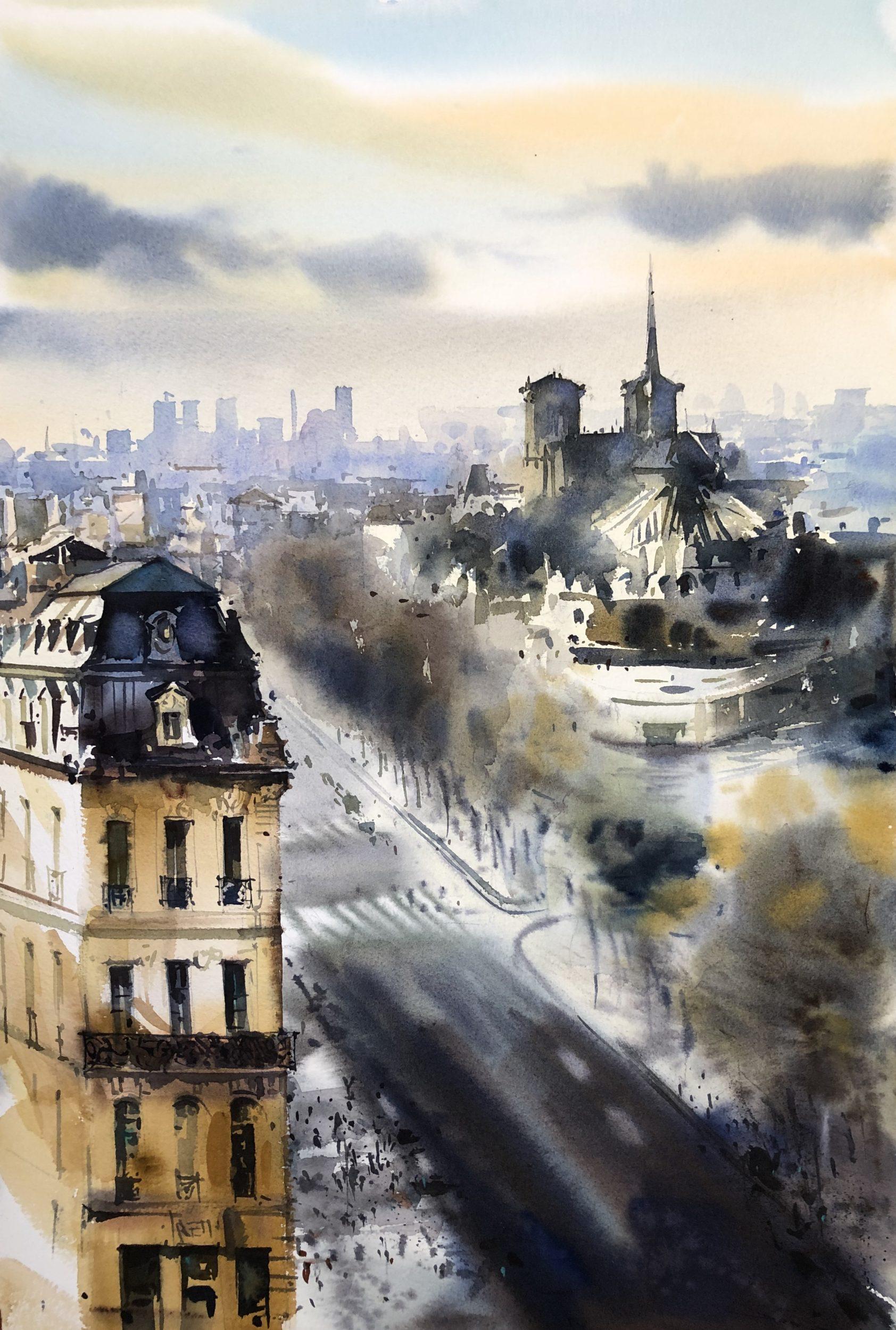 Paris Cant be Different,Watercolour, 56x38cm,Paříž nemůže být jiná