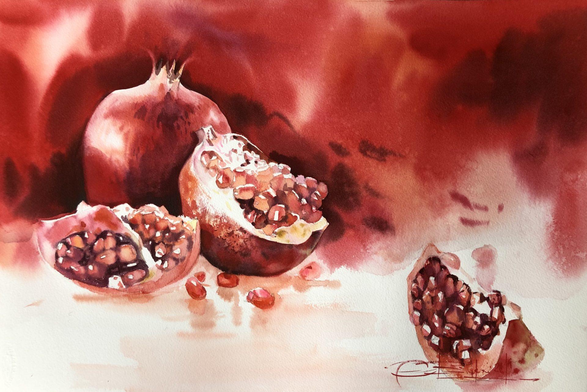 Pomegranate,Watercolour,56x76cm, Granátové Jablko