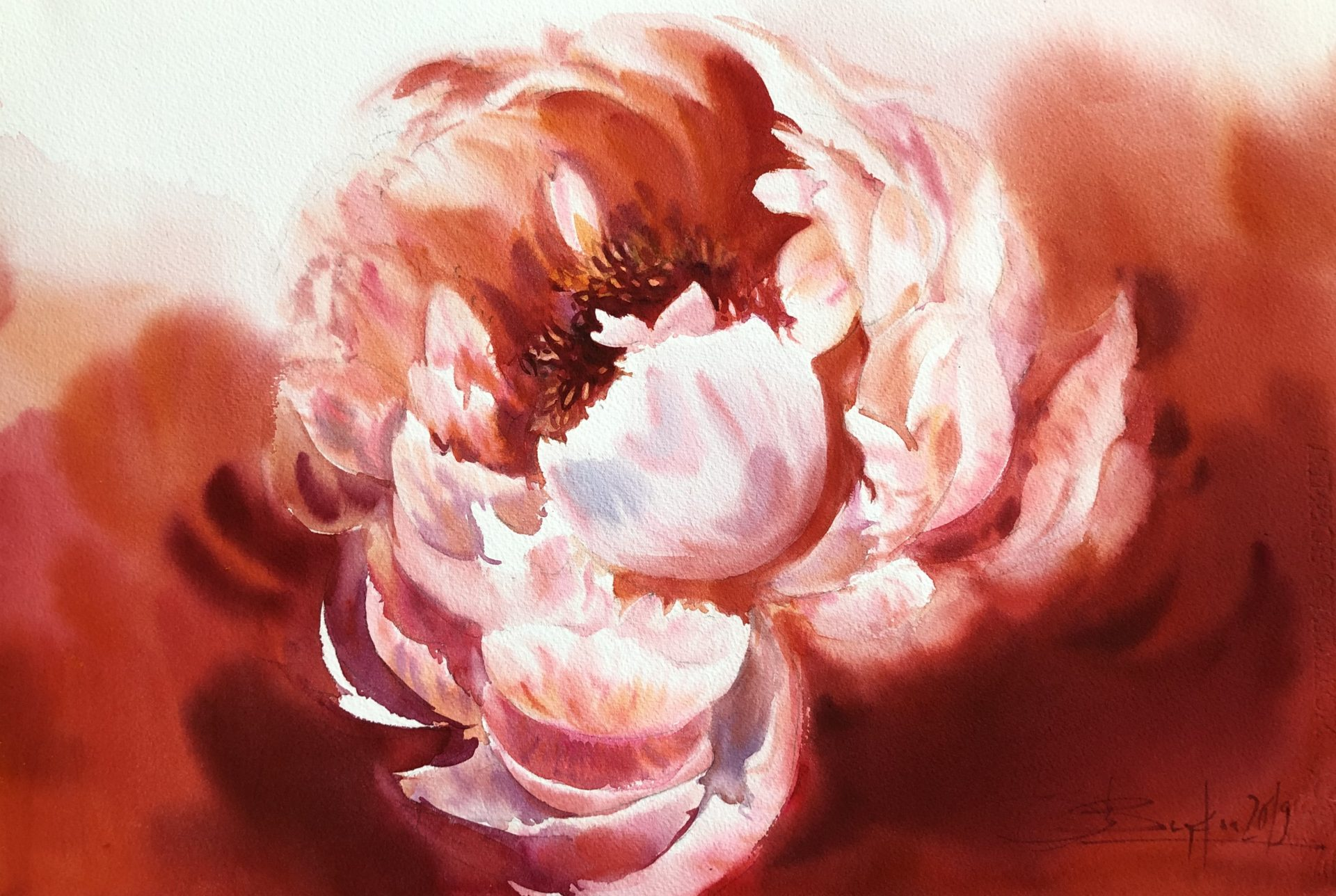 Red Illusion,Watercolour,56x38cm,Červená iluze