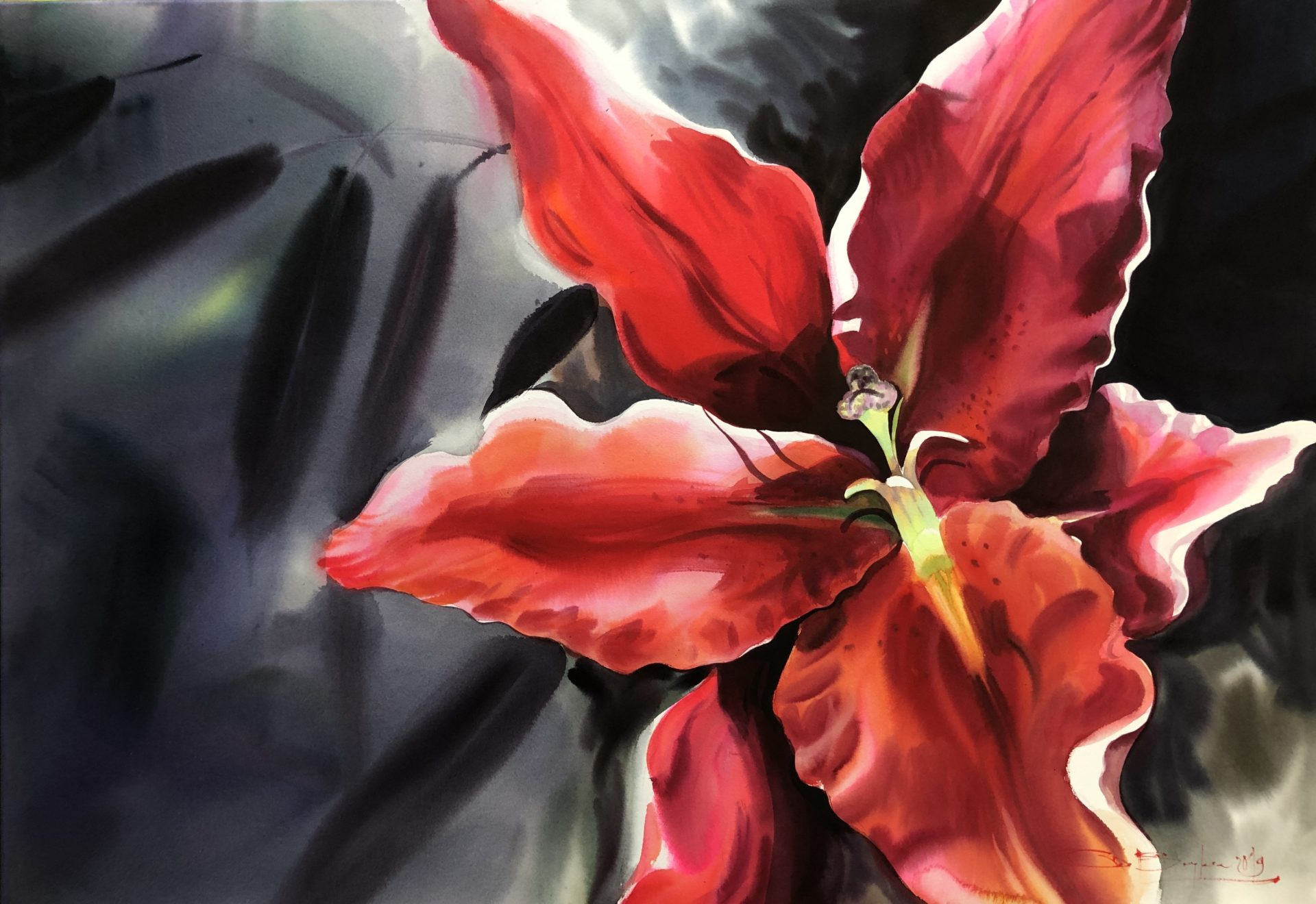 Red Lily, Watercolour,70x100cm, Červená lilie