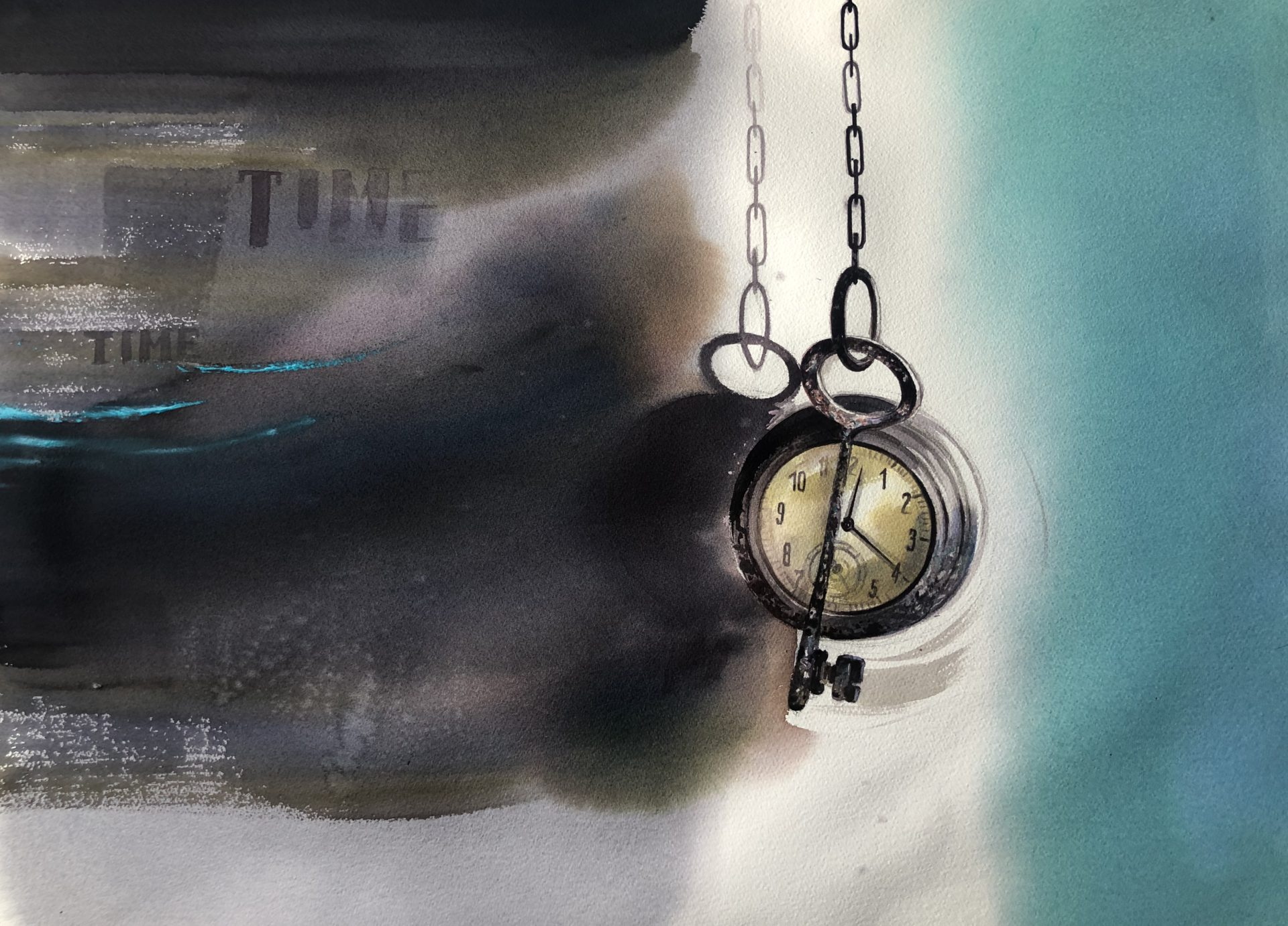 Stop the Time, Watercolour, 56x76cm,Zastav čas