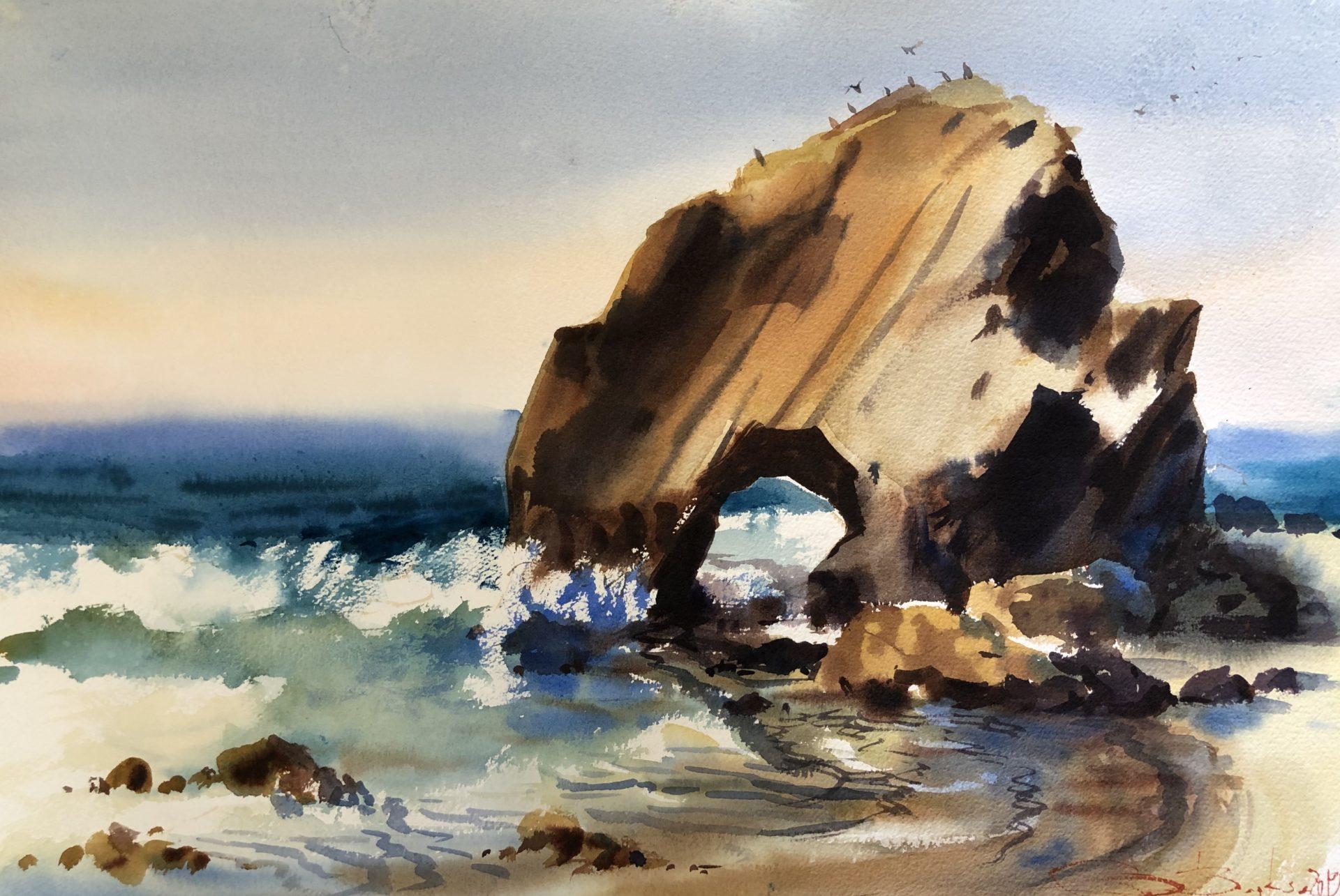 Sunday in Santa Cruz, Watercolour,56x38cm, Neděle v Santa Cruz
