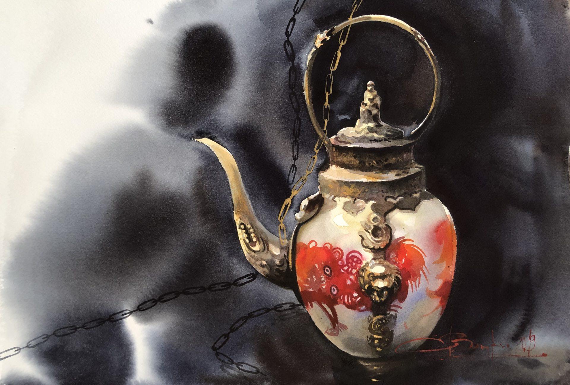 Tea Ritual , Thailand,Watercolur46x61cm, Čajový rituál,Tajsko