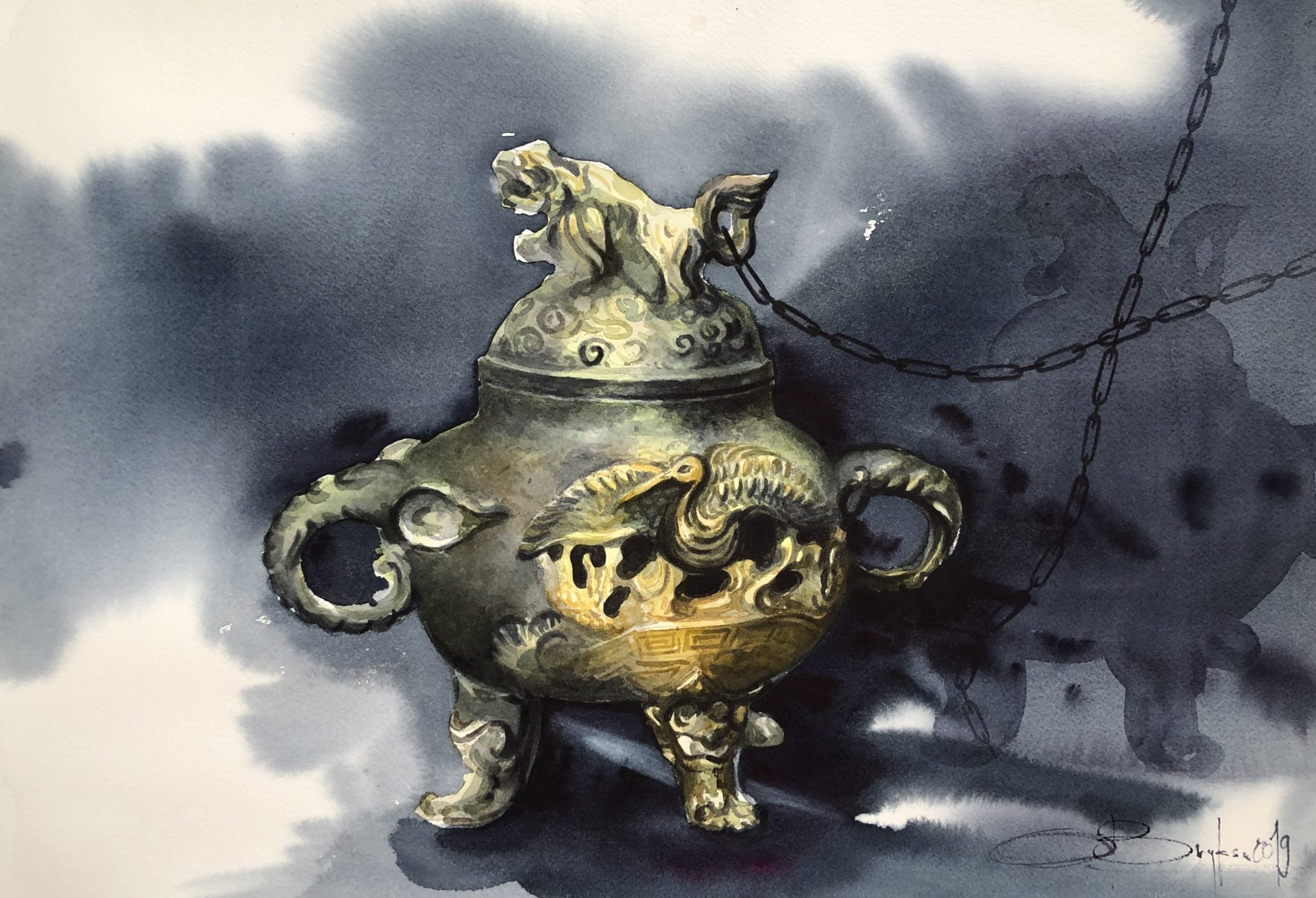The Kettle From Siem Reap Market,Watercolour, 46x61cm, Konvice z trhu Siem Reap