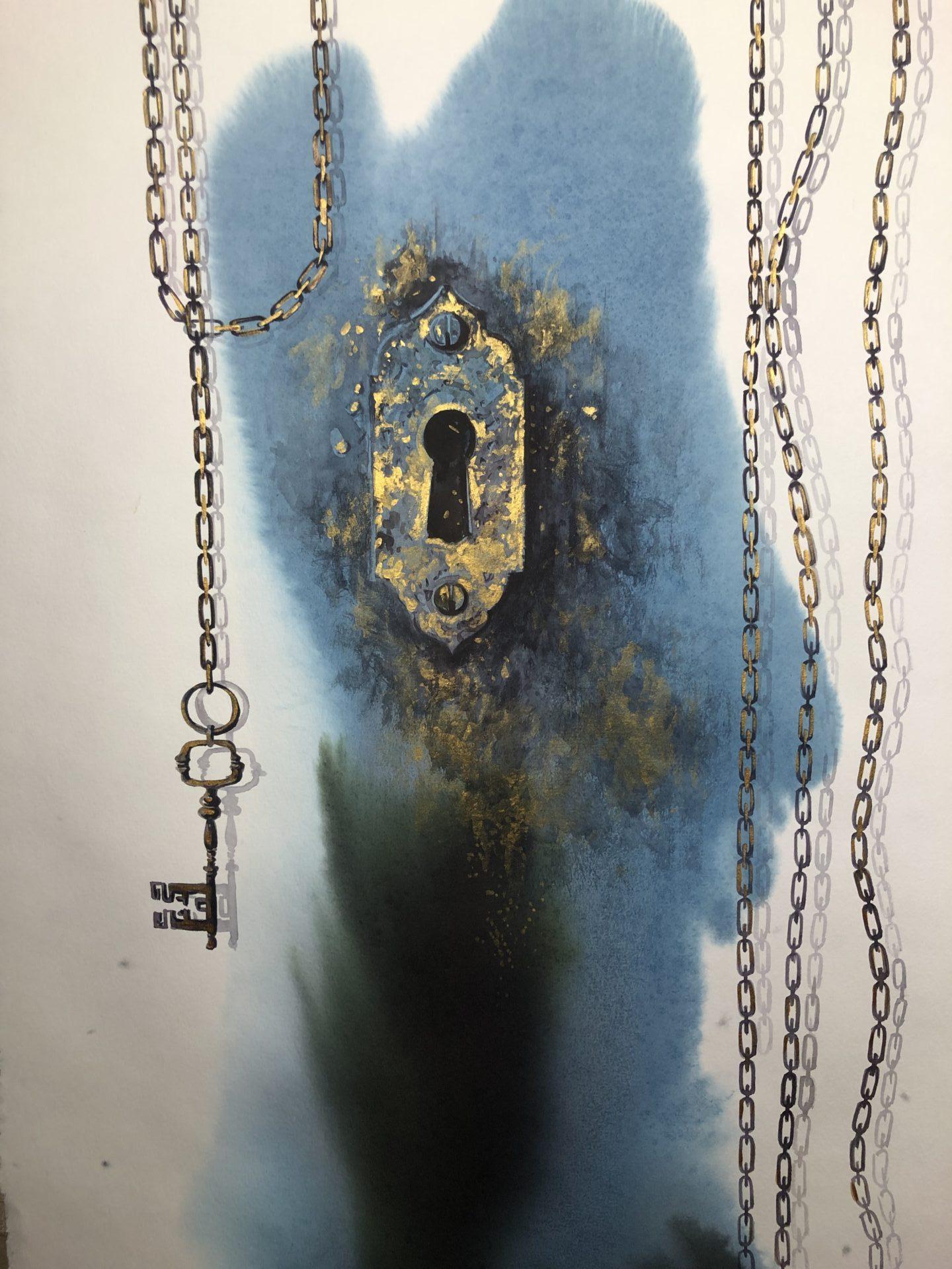 The Key to Paradise,Watercolor, 56x76cm,Klíč do ráje