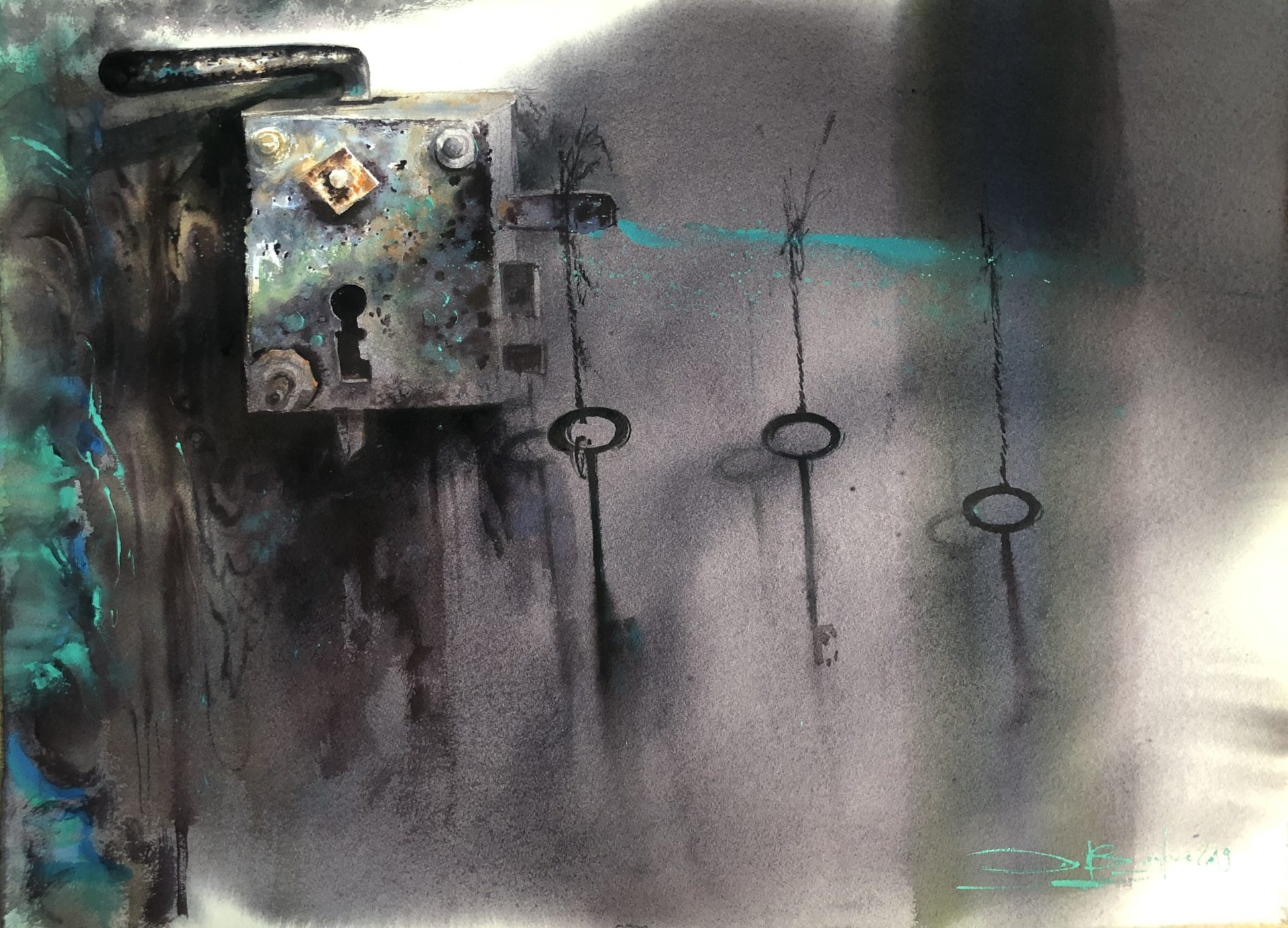 The Life Stages, Watercolour,56x76cm, Životní etapy