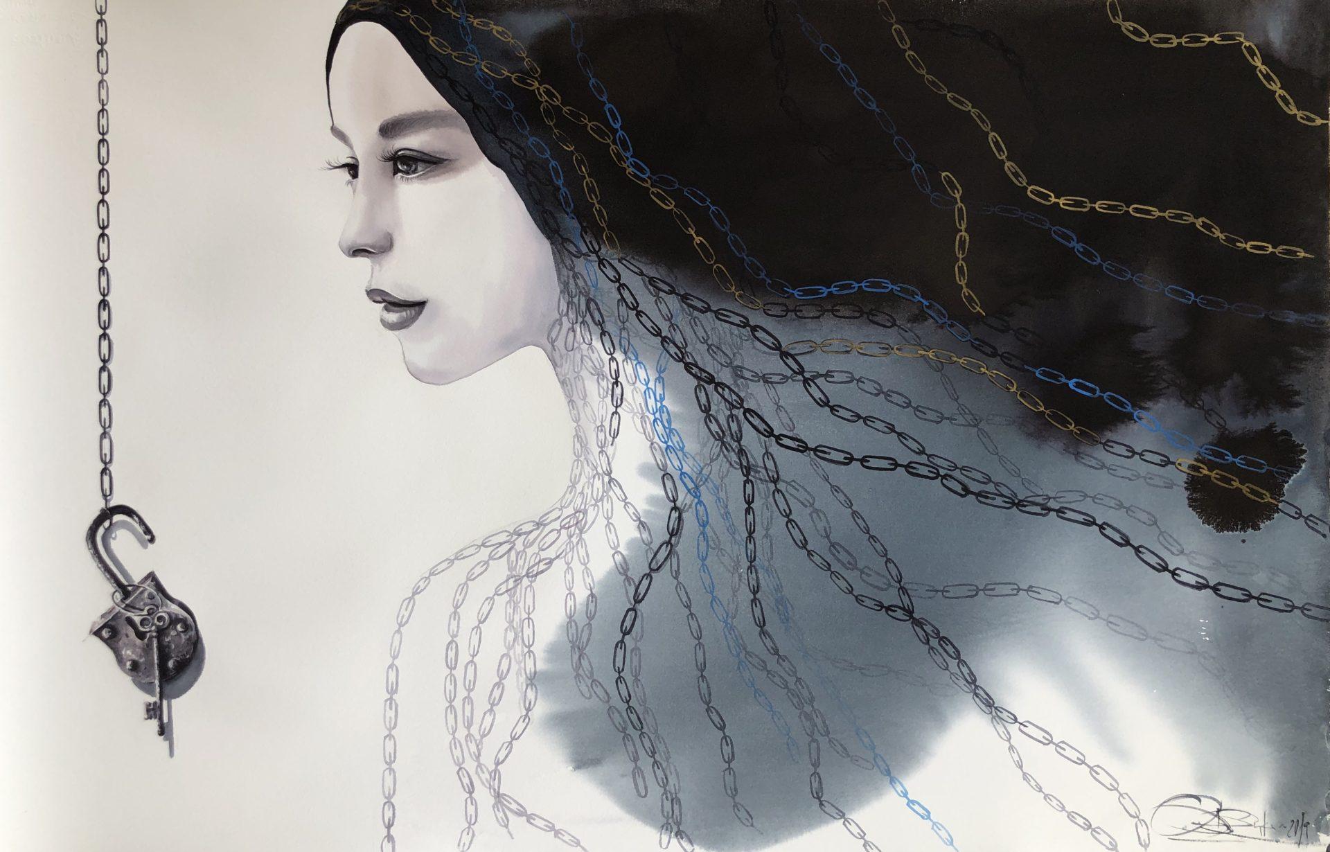Unlocked Thoughts,Watercolor,65x101cm,Odemknuté myšlení